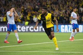 Young Boys' Jordan Siebatcheu celebrates after scoring their late winner against Manchester United.