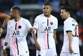 (From left) Paris Saint-Germain's much-vaunted front trio of Neymar, Kylian Mbappe and Lionel Messi were on the pitch together for the first time in their 1-1 draw with Club Brugge.