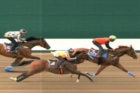Candy Rain ploughed on and eventually beat Sweet Tapit by half a length in Trial 1 at Kranji on Tuesday morning.