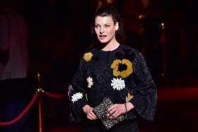 In this file photo taken on September 21, 2014, Canadian model Linda Evangelista attends the Dolce & Gabbana collection show during the 2015 Spring / Summer Milan Fashion Week in Milan.
