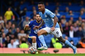 Manchester City's Gabriel Jesus in action against Chelsea.