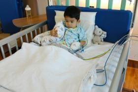 Two-year-old Devdan after receiving the treatment at NUH last Saturday.