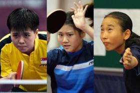 (From left) The young players in the Singapore women's team are Goi Ruixuan, Wong Xin Ru and Zhou Jingyi.
