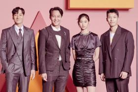 Squid Game actors (from left) Park Hae-soo, Lee Jung-jae, Jung Ho-yeon, and Wi Ha-jun will be guests on The Tonight Show Starring Jimmy Fallon.
