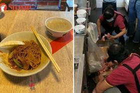 Employees of Pontian Wanton Noodles were seen chopping and handling meat on the floor at its Paya Lebar Square outlet.