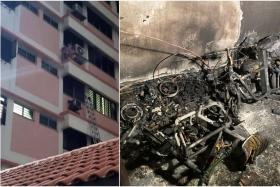 Two men in the flat climbed out to an air-conditioner ledge to escape from a fire suspected to be caused by a PMD.