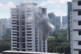 A fire broke out at a flat on the 14th storey of Blk 13 Ghim Moh Road on Oct 8 at about 10am.