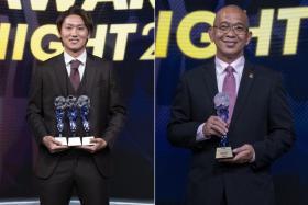 Hougang United striker Tomoyuki Doi (left) and coach Clement Teo.
