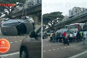 Good Samaritans help to right overturned car after Sembawang crash.