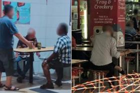 A gathering of more than two people at Tekka Centre (left) and a patron sitting on a cordoned off seat at Whampoa Food Centre.