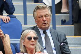Actor Alec Baldwin watches the Men's Singles final match between Daniil Medvedev of Russia and Novak Djokovic of Serbia on Day Fourteen of the 2021 US Open at the USTA Billie Jean King National Tennis Center on September 12, 2021 in the Flushing neighborhood of the Queens borough of New York City.