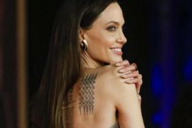 US actress Angelina Jolie poses on the Eternals red carpet at the 16th annual Rome International Film Festival, in Rome, Italy.