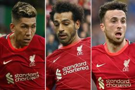 From left, Liverpool forwards Roberto Firmino, Mohamed Salah and Diogo Jota.