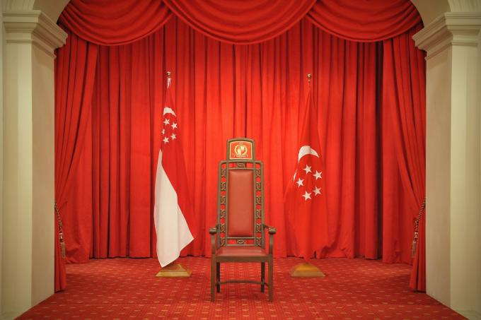 The Presidential Chair Flanked By The State Flag And The Presidential Flag  In The Istana.ST FILE PHOTO